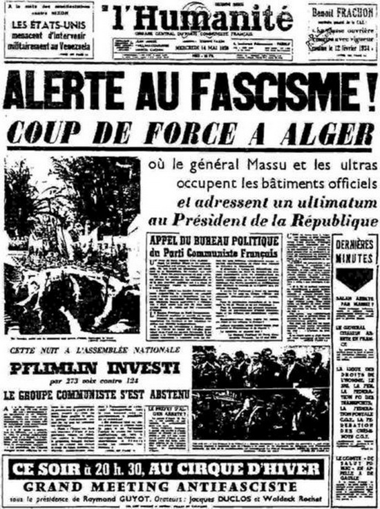 """Résultat de recherche d'images pour """"""""L'Humanité"""" 14 mai 1958 Photo"""""""